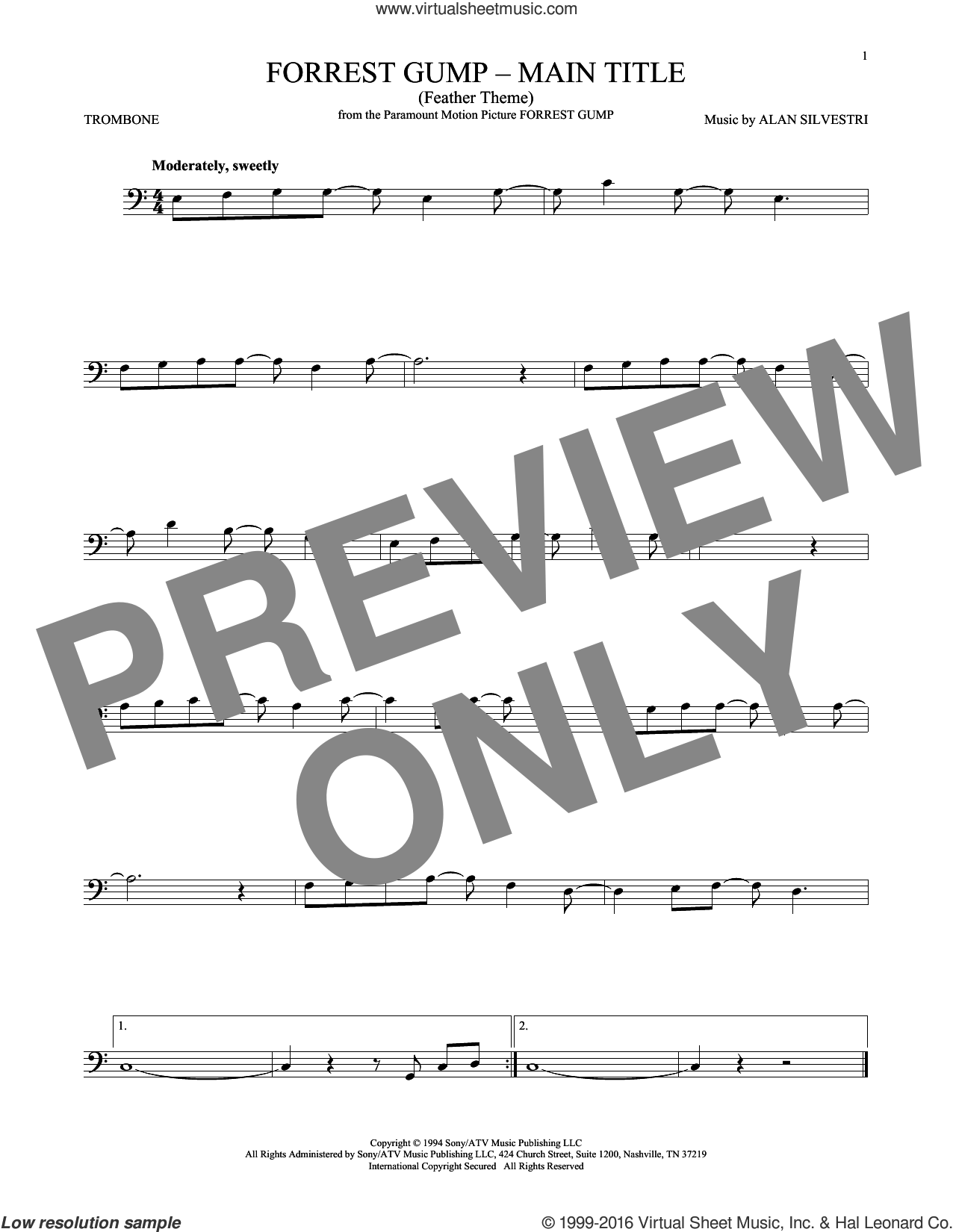 Forrest Gump - Main Title (Feather Theme) sheet music for trombone solo by Alan Silvestri, intermediate skill level
