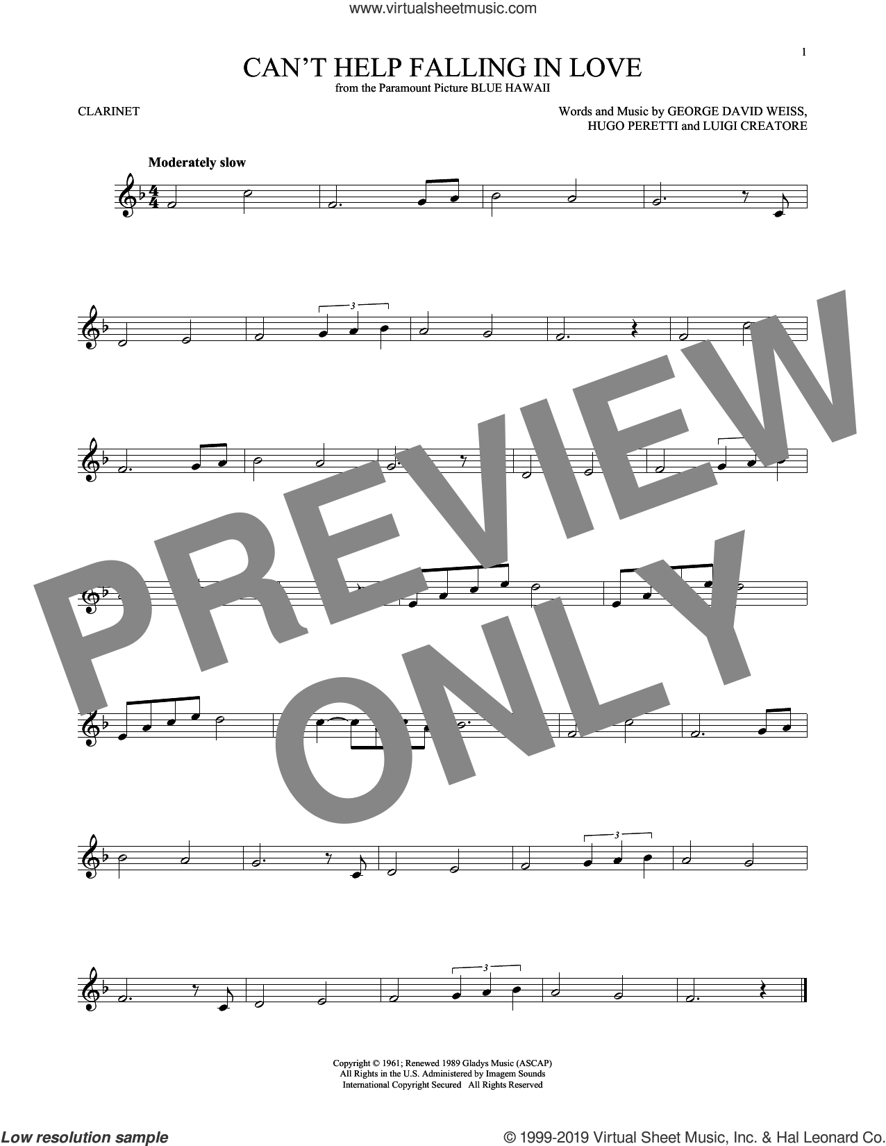 Can't Help Falling In Love sheet music for clarinet solo by Elvis Presley, George David Weiss, Hugo Peretti and Luigi Creatore, intermediate skill level