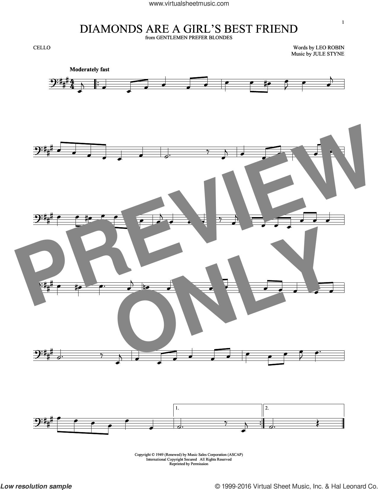 Diamonds Are A Girl's Best Friend sheet music for cello solo by Jule Styne and Leo Robin, intermediate. Score Image Preview.