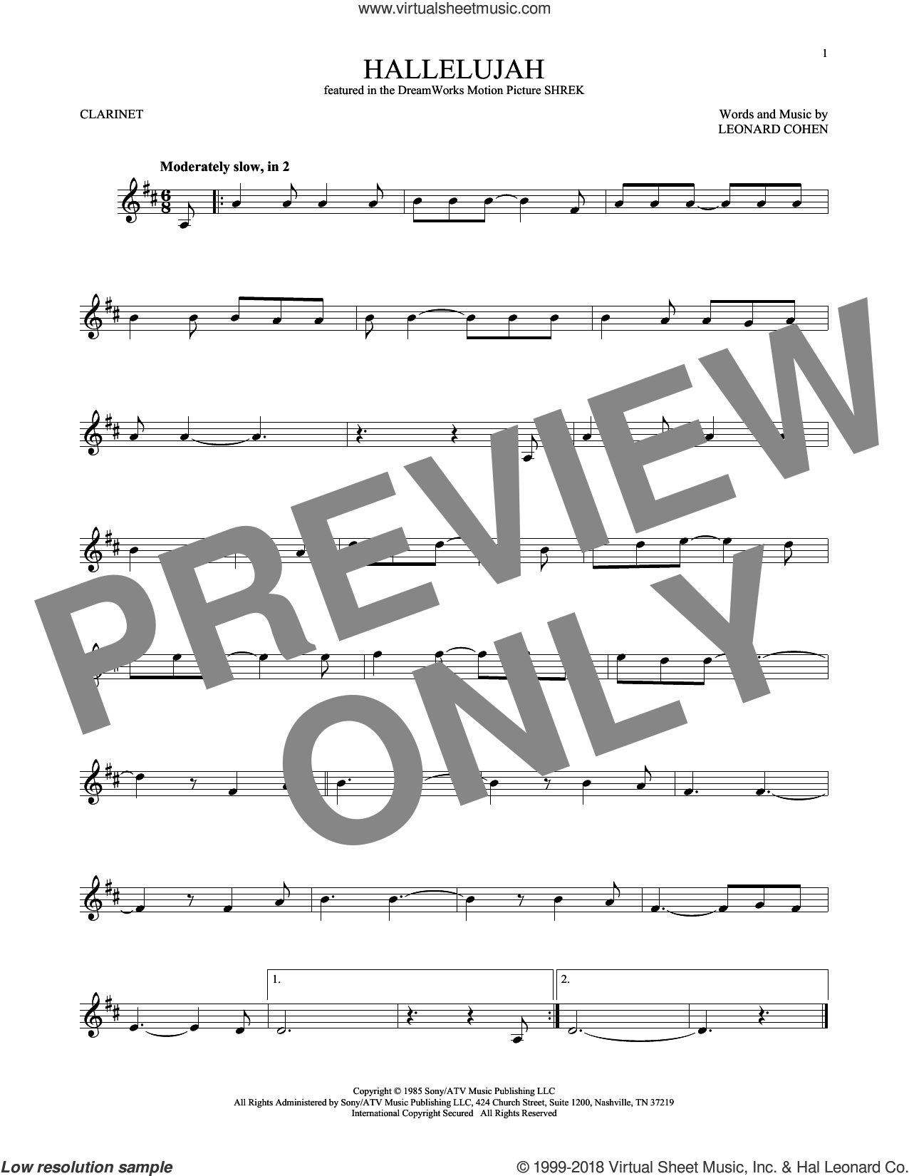 Hallelujah sheet music for clarinet solo by Leonard Cohen, Justin Timberlake & Matt Morris featuring Charlie Sexton and Lee DeWyze, intermediate skill level