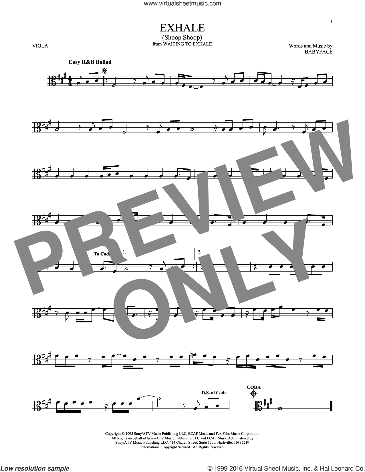 Exhale (Shoop Shoop) sheet music for viola solo by Whitney Houston and Babyface, intermediate skill level