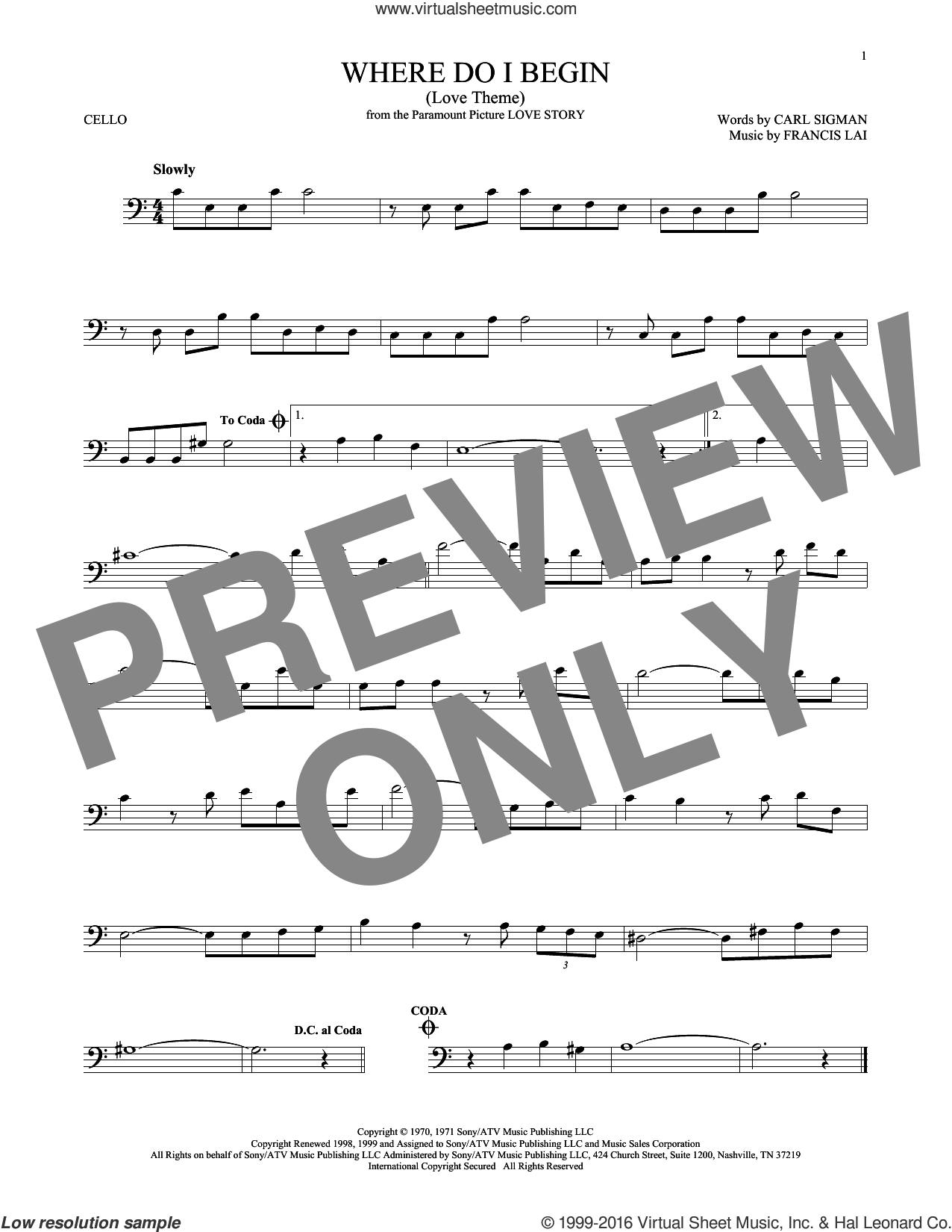 Where Do I Begin (Love Theme) sheet music for cello solo by Francis Lai, Andy Williams and Carl Sigman. Score Image Preview.