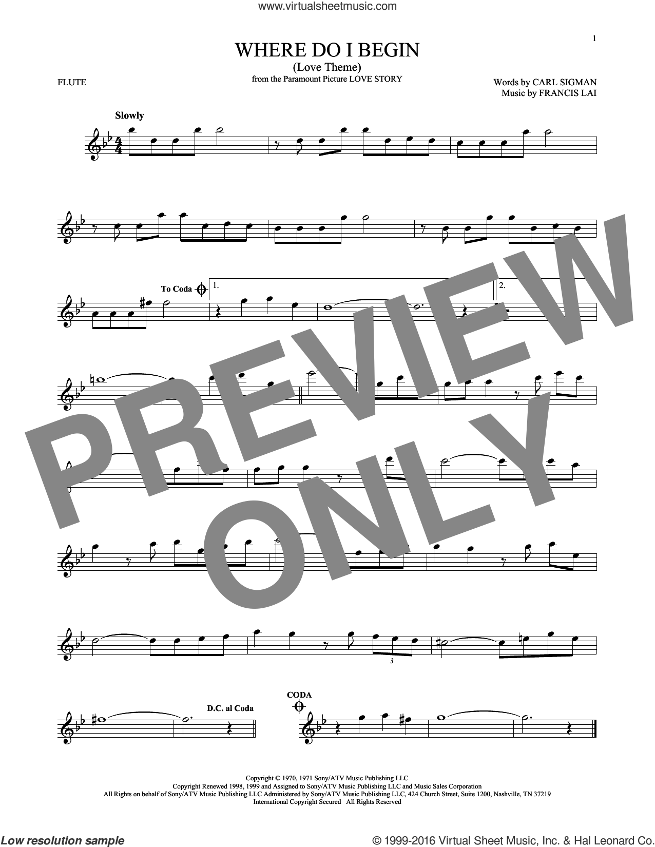 Where Do I Begin (Love Theme) sheet music for flute solo by Andy Williams, Carl Sigman and Francis Lai. Score Image Preview.