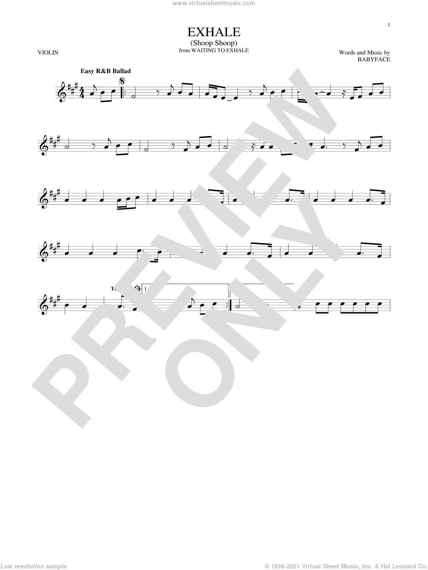 Exhale (Shoop Shoop) sheet music for violin solo by Whitney Houston and Babyface, intermediate skill level