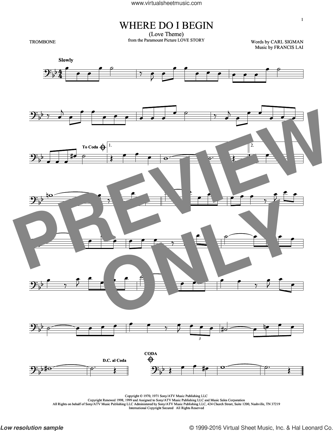 Where Do I Begin (Love Theme) sheet music for trombone solo by Andy Williams, Carl Sigman and Francis Lai, intermediate skill level