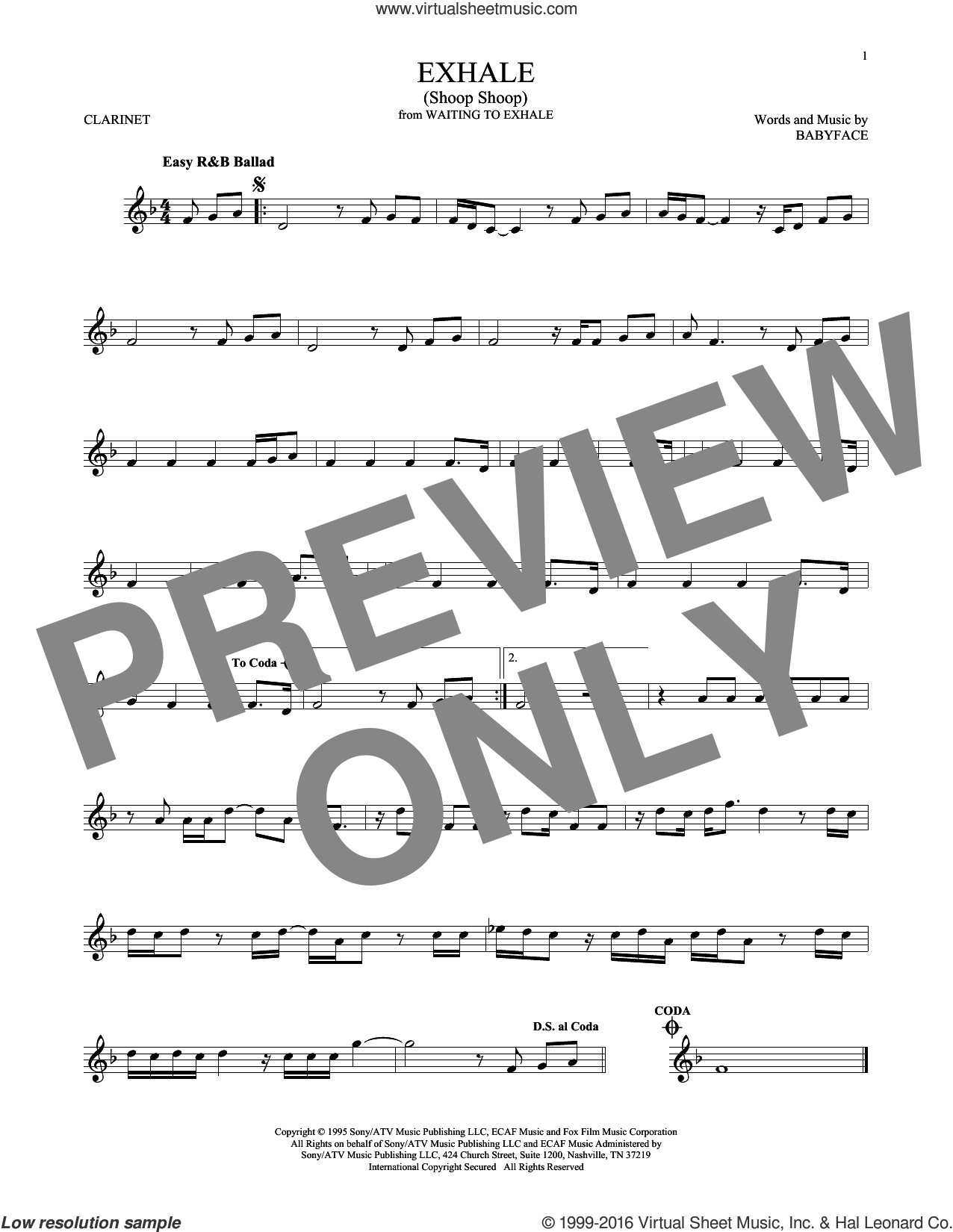 Exhale (Shoop Shoop) sheet music for clarinet solo by Whitney Houston and Babyface, intermediate skill level