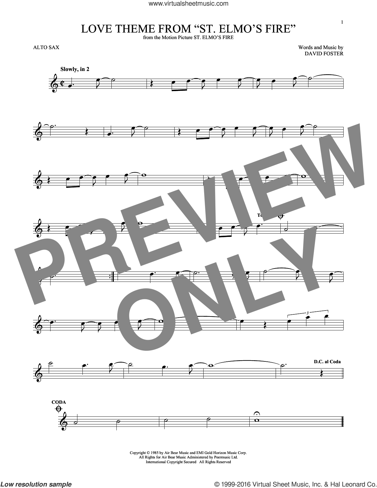 Love Theme From 'St. Elmo's Fire' sheet music for alto saxophone solo by David Foster, intermediate skill level