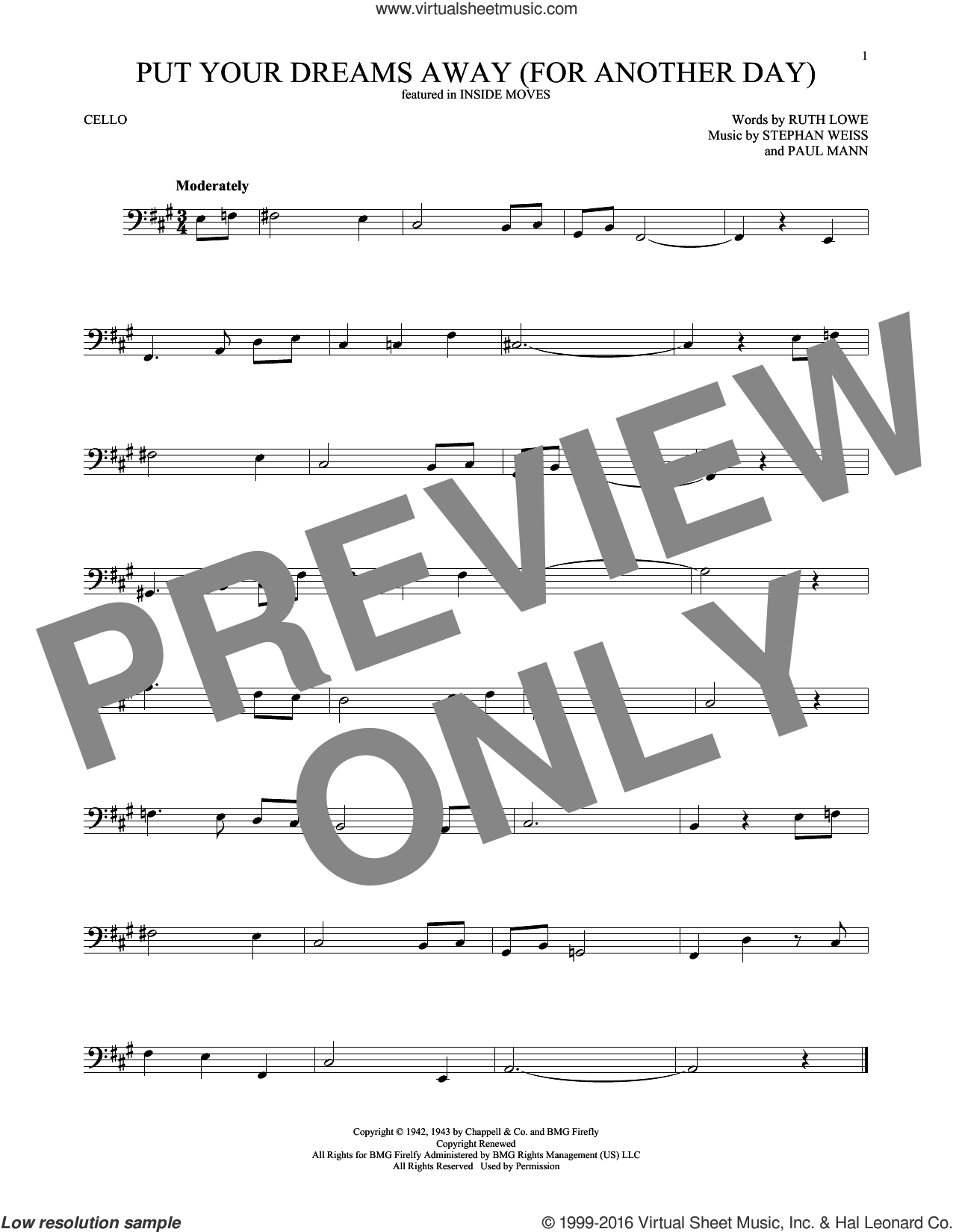 Put Your Dreams Away (For Another Day) sheet music for cello solo by Frank Sinatra and Stephen Weiss. Score Image Preview.