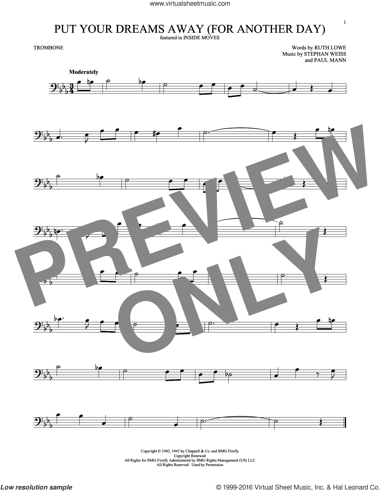 Put Your Dreams Away (For Another Day) sheet music for trombone solo by Frank Sinatra, Ruth Lowe and Stephen Weiss, intermediate. Score Image Preview.