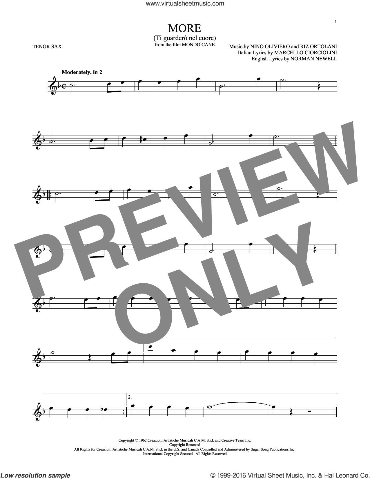 More (Ti Guardero Nel Cuore) sheet music for tenor saxophone solo by Norman Newell, Kai Winding, Marcello Ciorciolini, Nino Oliviero and Riz Ortolani, intermediate skill level