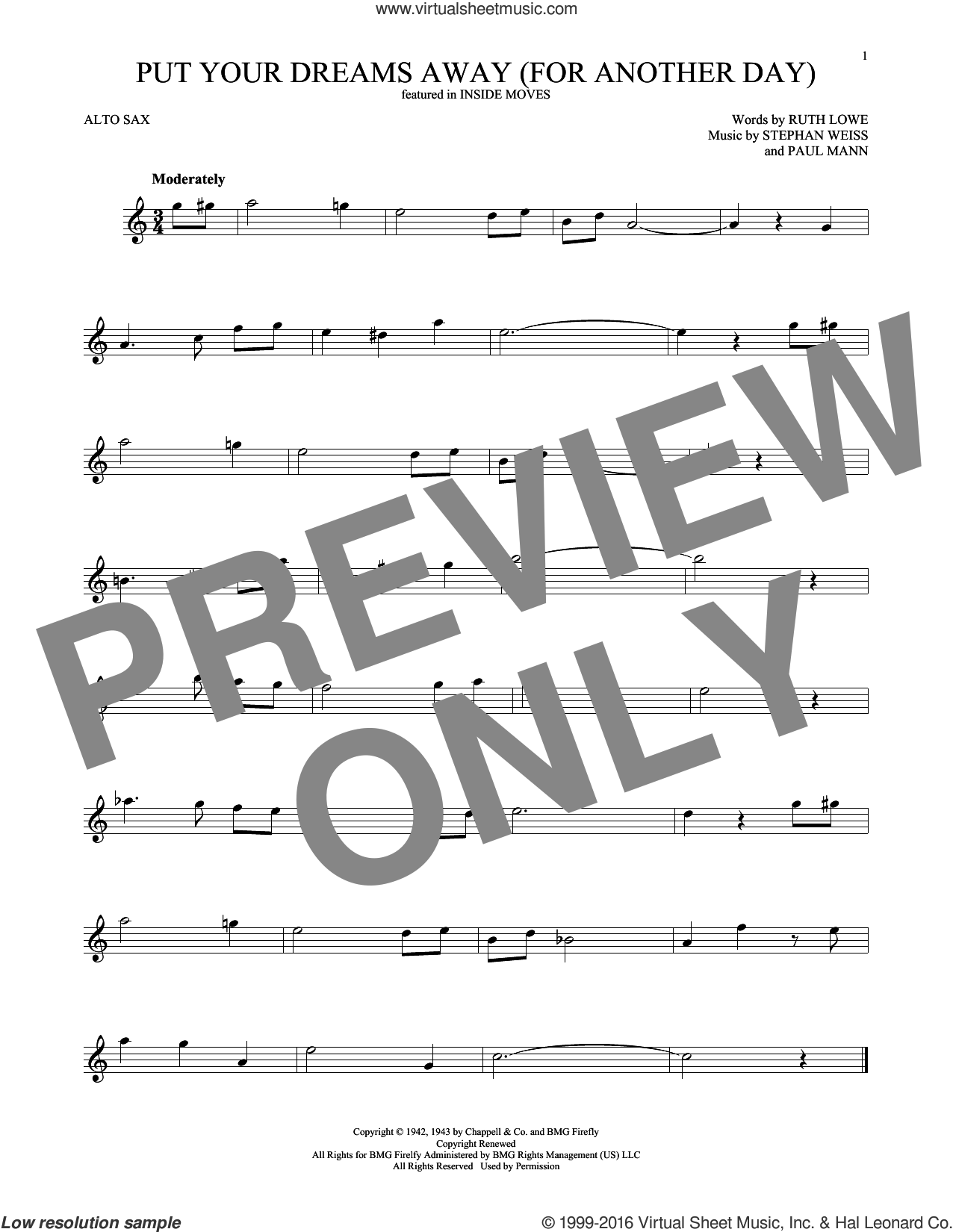 Put Your Dreams Away (For Another Day) sheet music for alto saxophone solo ( Sax) by Stephen Weiss, Frank Sinatra and Ruth Lowe. Score Image Preview.