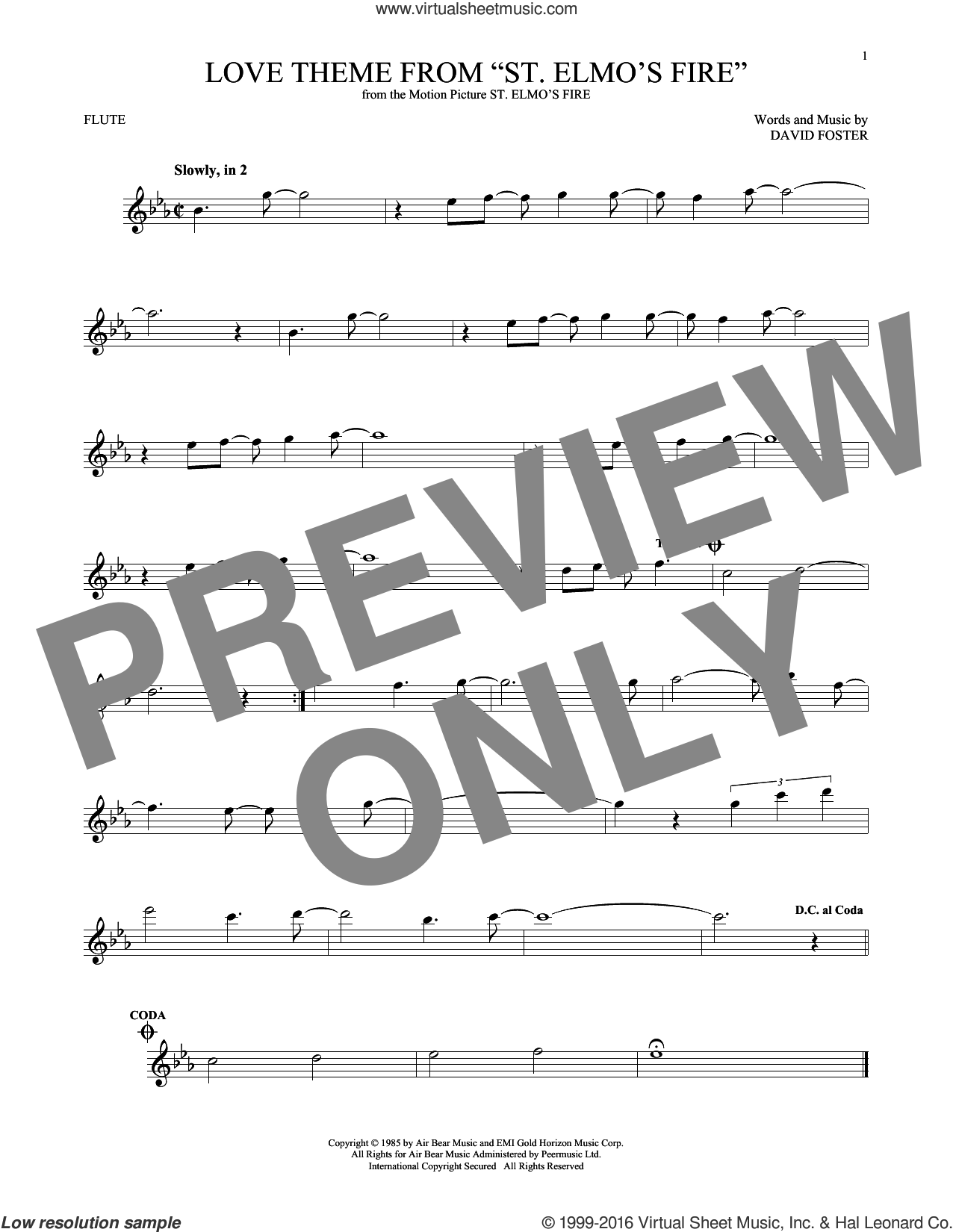 Love Theme From 'St. Elmo's Fire' sheet music for flute solo by David Foster, intermediate skill level