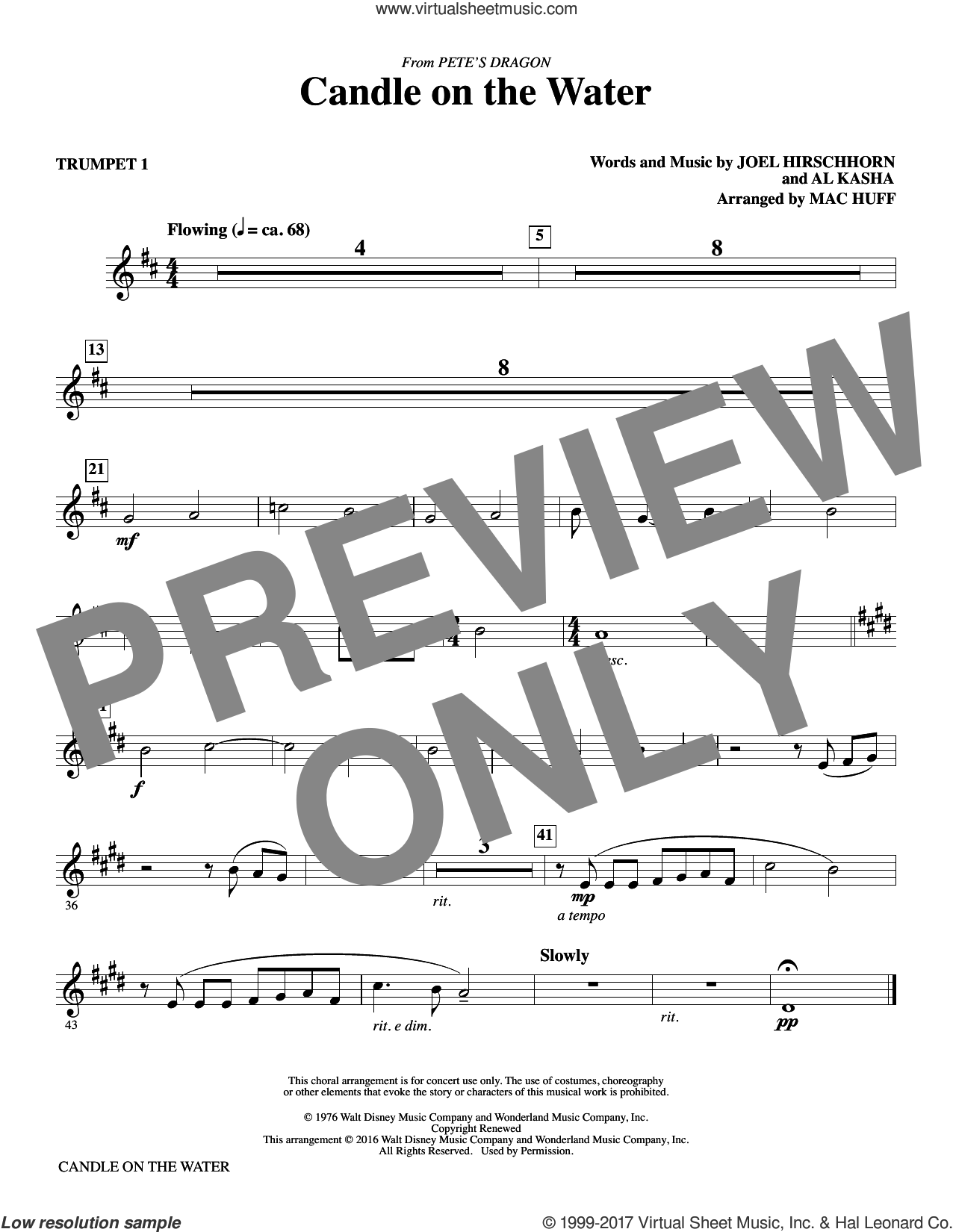 Candle on the Water (complete set of parts) sheet music for orchestra/band by Mac Huff, Al Kasha and Joel Hirschhorn, intermediate skill level