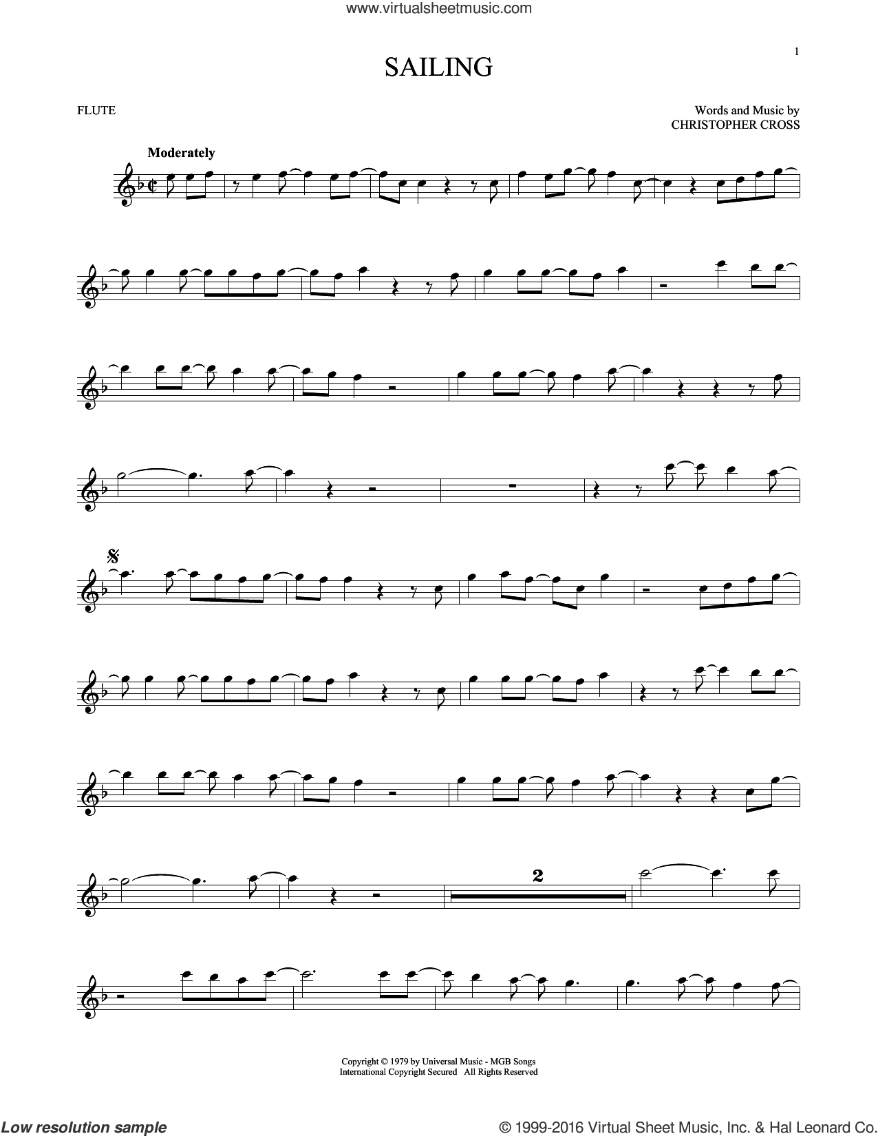 Sailing sheet music for flute solo by 'N Sync and Christopher Cross, intermediate flute. Score Image Preview.