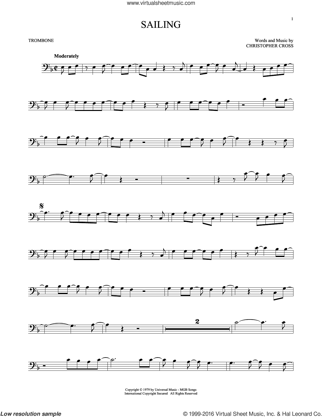 Sailing sheet music for trombone solo by Christopher Cross. Score Image Preview.
