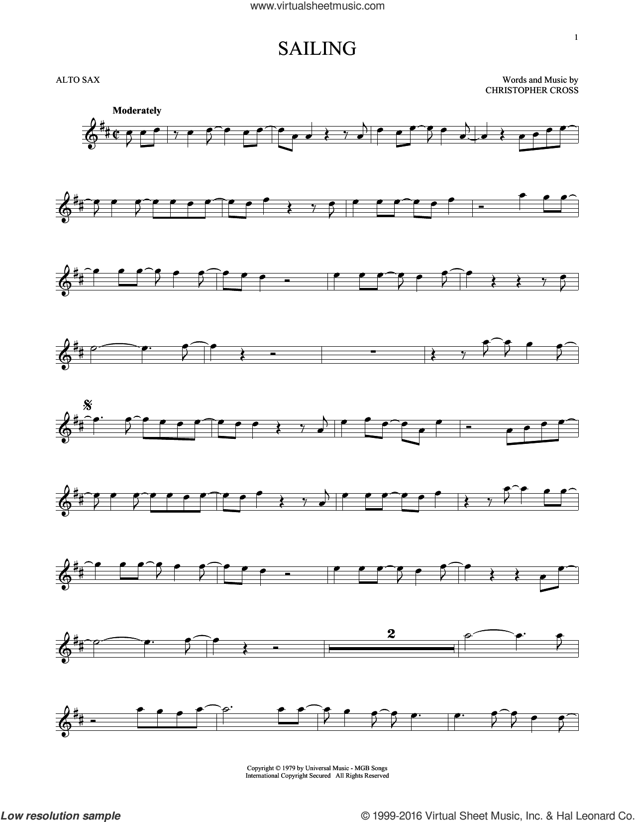 Sailing sheet music for alto saxophone solo by 'N Sync and Christopher Cross, intermediate