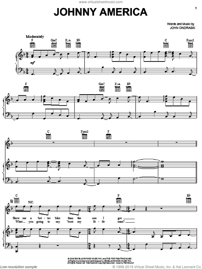 Johnny America sheet music for voice, piano or guitar by Five For Fighting, intermediate. Score Image Preview.