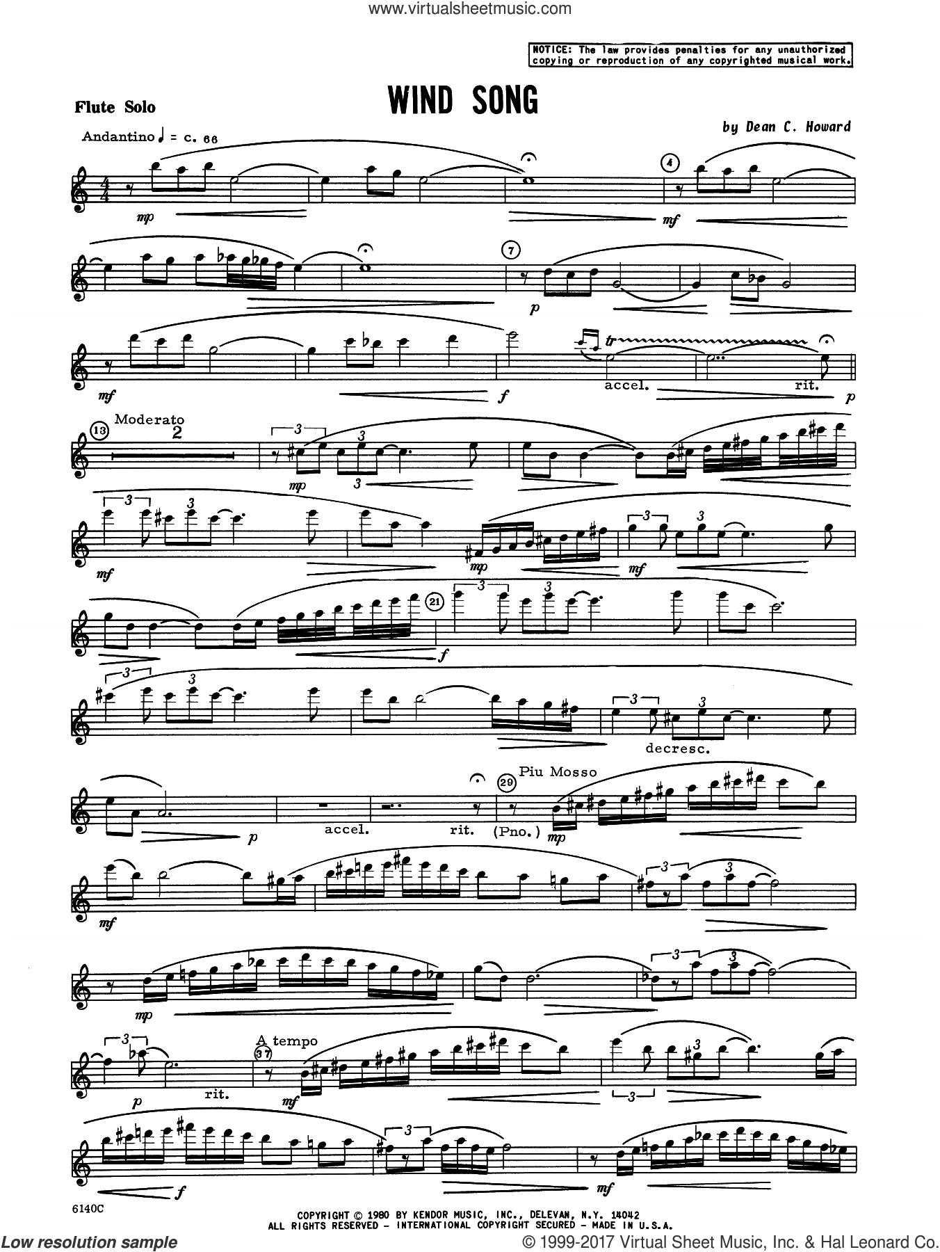 Wind Song (complete set of parts) sheet music for flute and piano by Howard, intermediate. Score Image Preview.