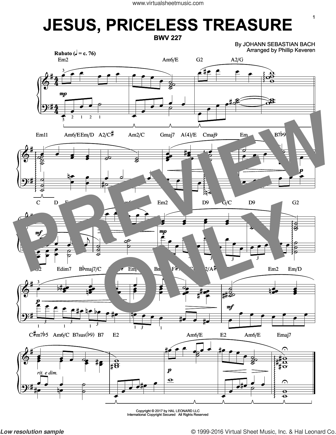 Jesus, Priceless Treasure, BWV 227 sheet music for piano solo by Johann Sebastian Bach and Phillip Keveren. Score Image Preview.