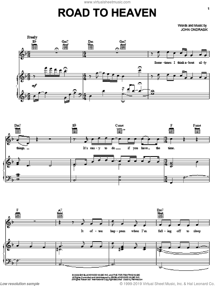 Road To Heaven sheet music for voice, piano or guitar by Five For Fighting. Score Image Preview.
