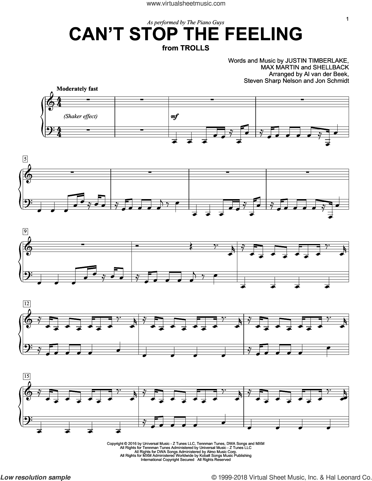 Can't Stop The Feeling sheet music for voice and piano by Shellback, The Piano Guys, Johan Schuster, Justin Timberlake and Max Martin. Score Image Preview.