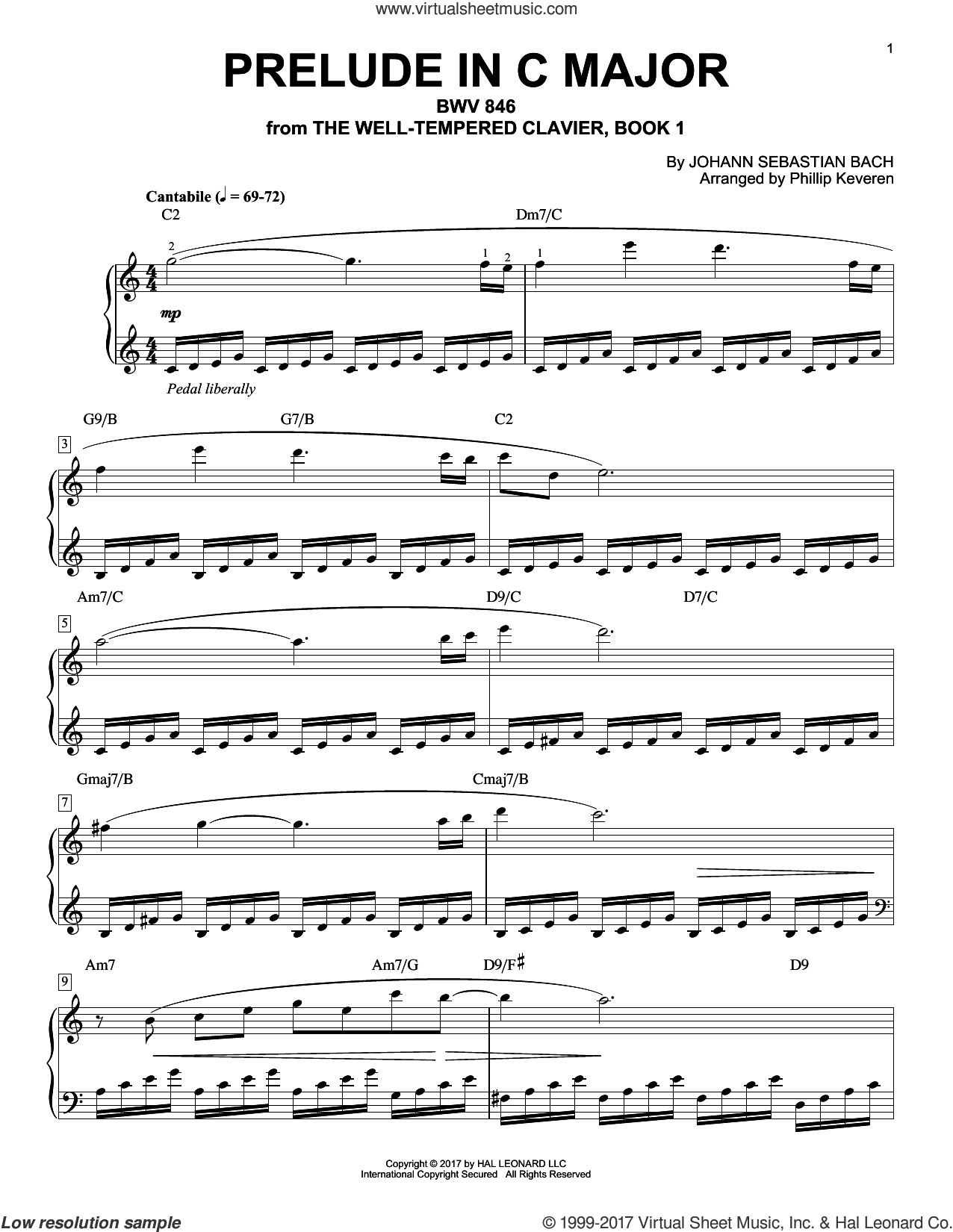 Prelude In C Major, BWV 846 sheet music for piano solo by Johann Sebastian Bach and Phillip Keveren, classical score, intermediate skill level
