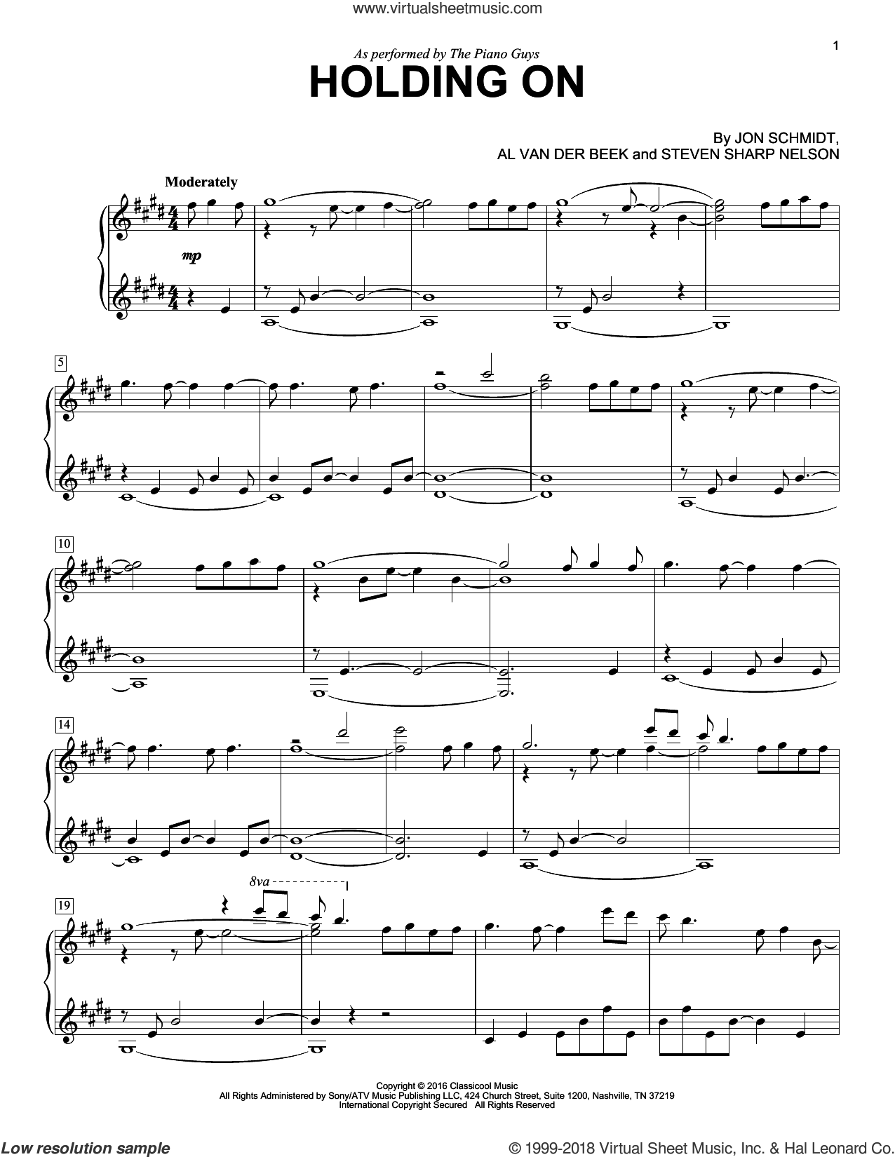Holding On sheet music for piano solo by The Piano Guys, Al van der Beek, Jon Schmidt and Steven Sharp Nelson, intermediate skill level