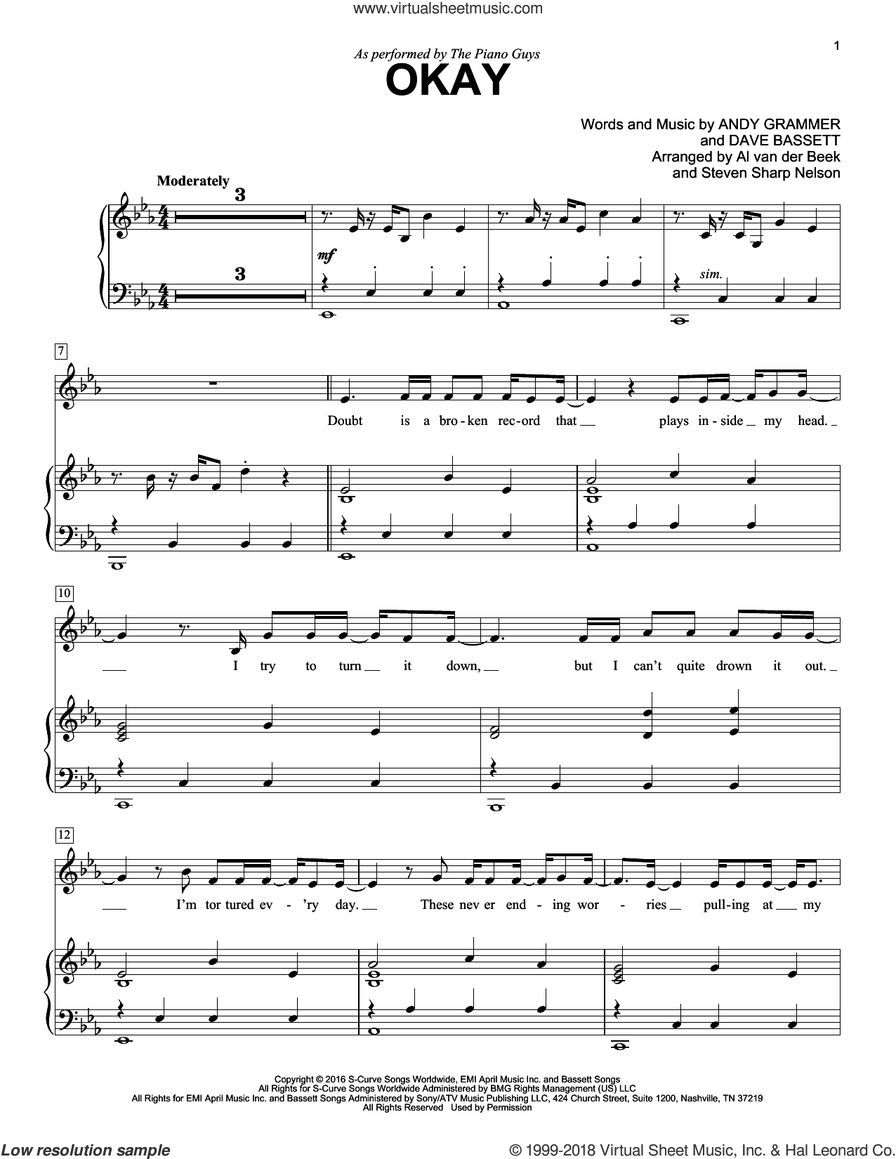 Okay sheet music for piano solo by The Piano Guys, Andy Grammer and Dave Bassett, intermediate skill level
