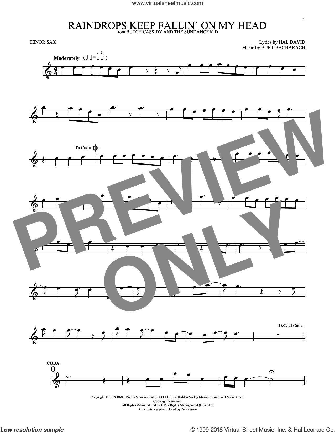 Raindrops Keep Fallin' On My Head sheet music for tenor saxophone solo by Burt Bacharach, B.J. Thomas and Hal David, intermediate skill level