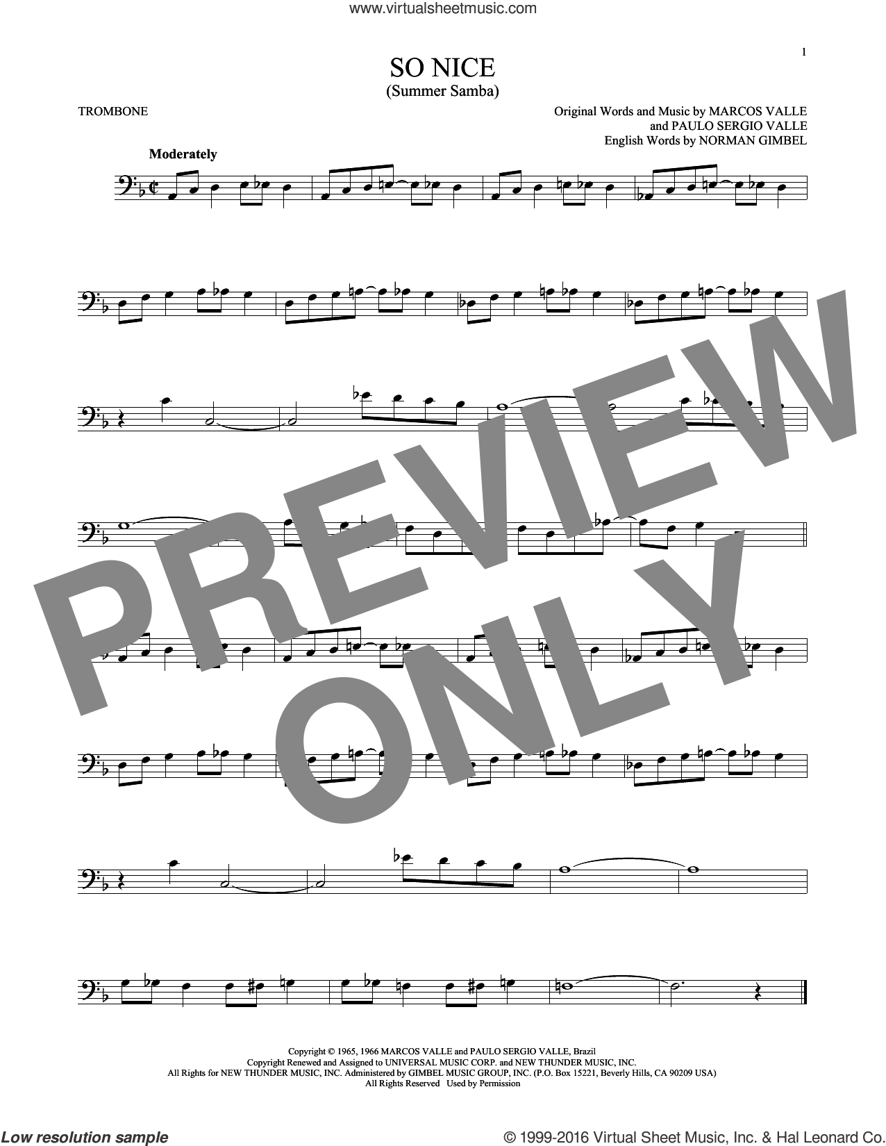 So Nice (Summer Samba) sheet music for trombone solo by Paulo Sergio Valle, Marcos Valle and Norman Gimbel. Score Image Preview.