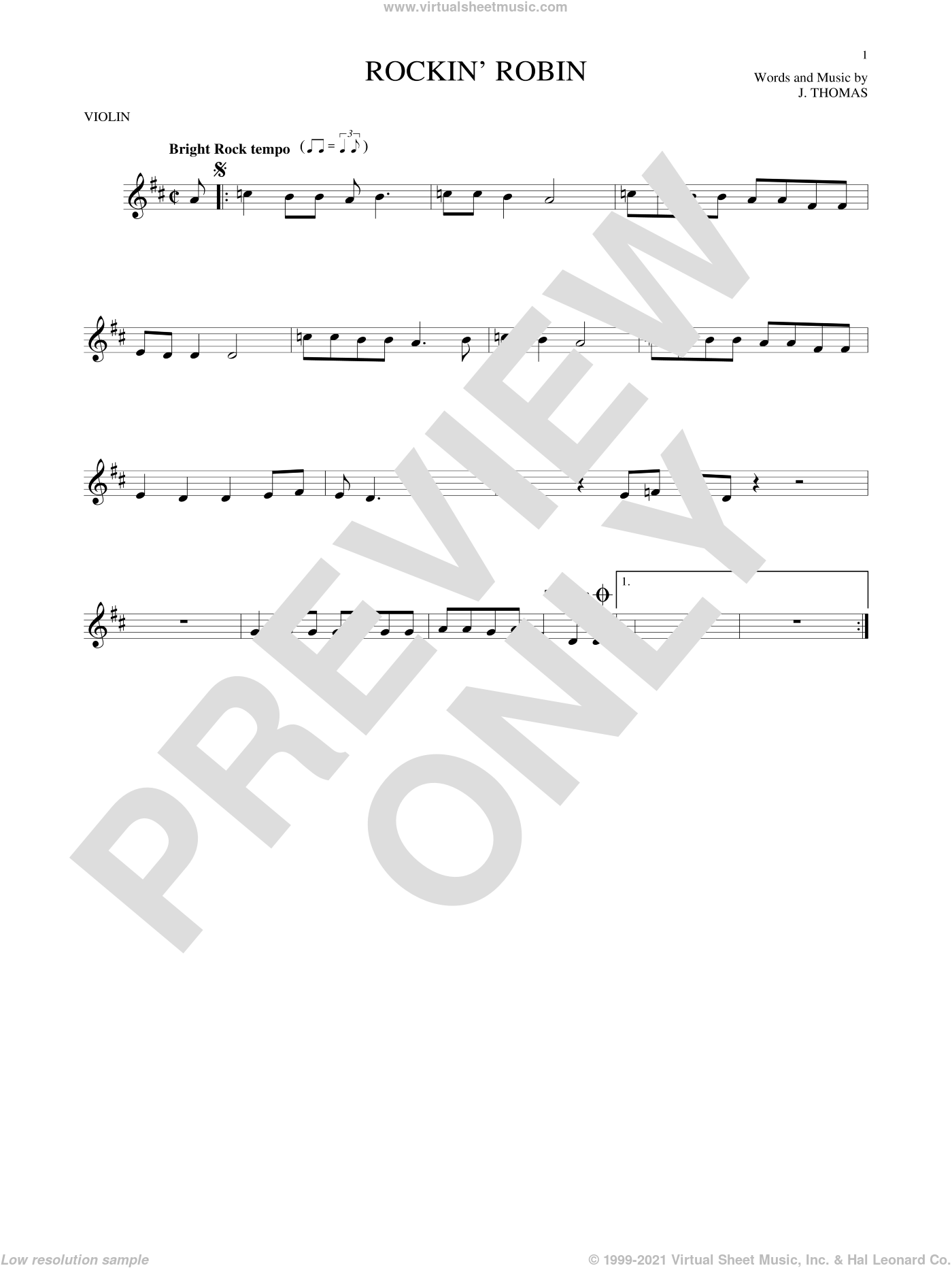 Rockin' Robin sheet music for violin solo by Thomas Jimmie, Bobby Day and Michael Jackson, intermediate skill level