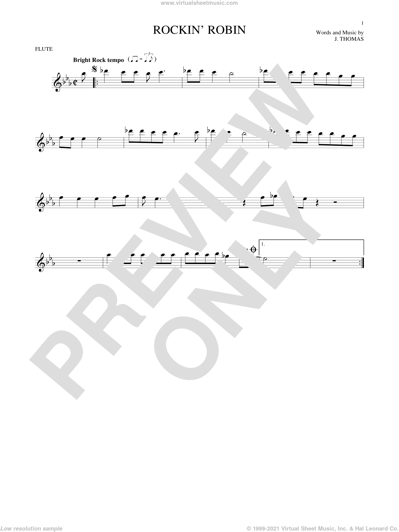 Rockin' Robin sheet music for flute solo by Thomas Jimmie, Bobby Day and Michael Jackson. Score Image Preview.