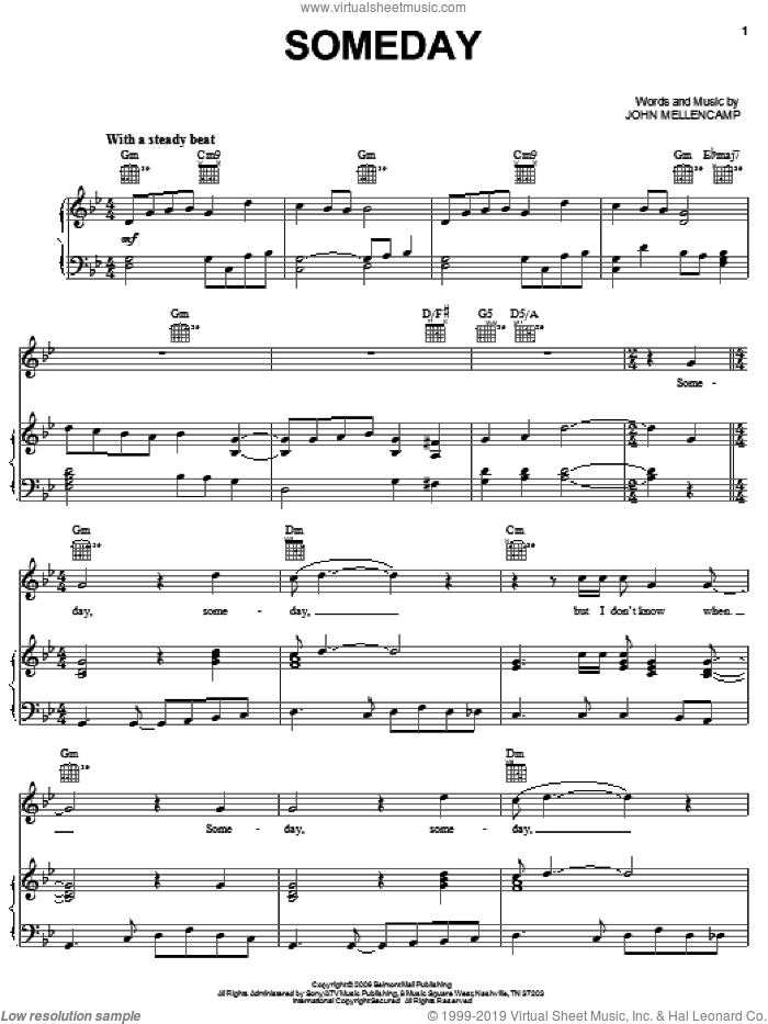 Someday sheet music for voice, piano or guitar by John Mellencamp, intermediate voice, piano or guitar. Score Image Preview.