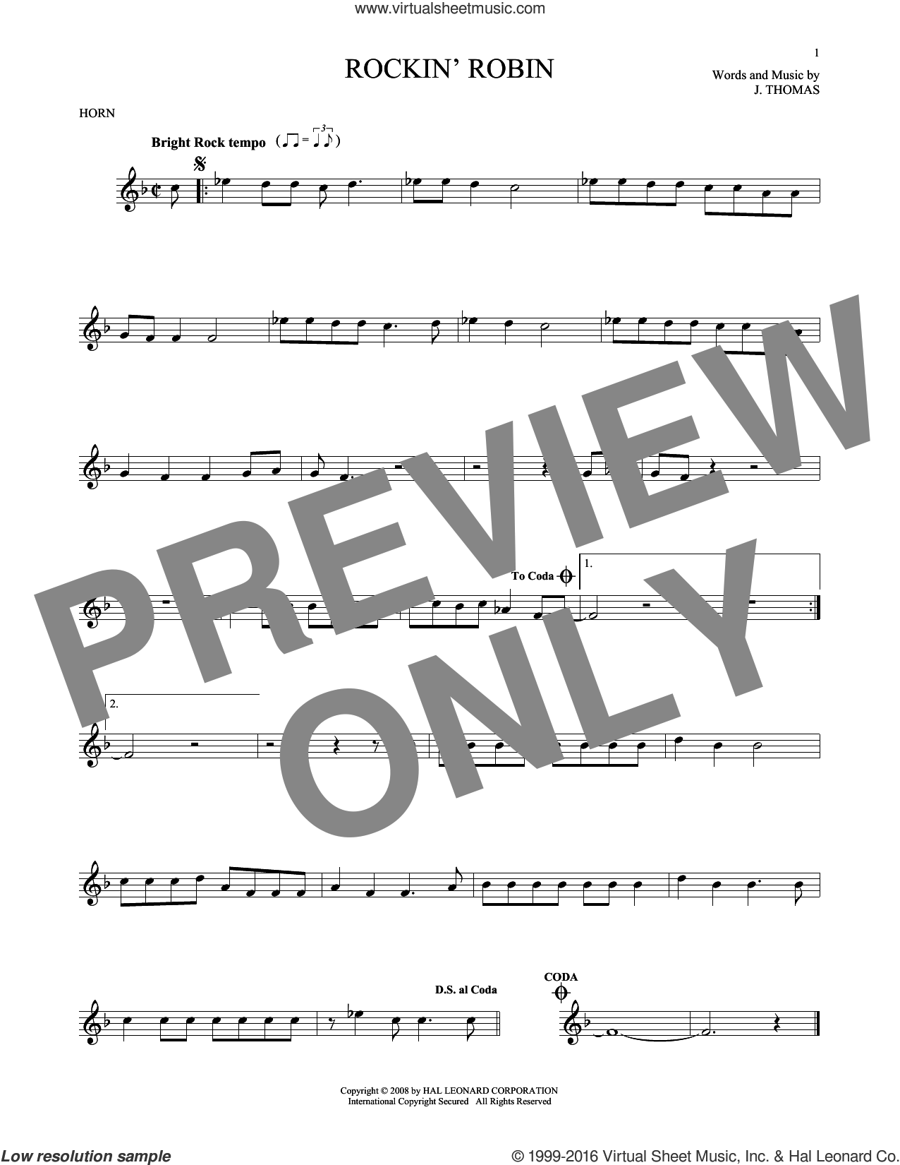 Rockin' Robin sheet music for horn solo by Thomas Jimmie, Bobby Day and Michael Jackson, intermediate skill level