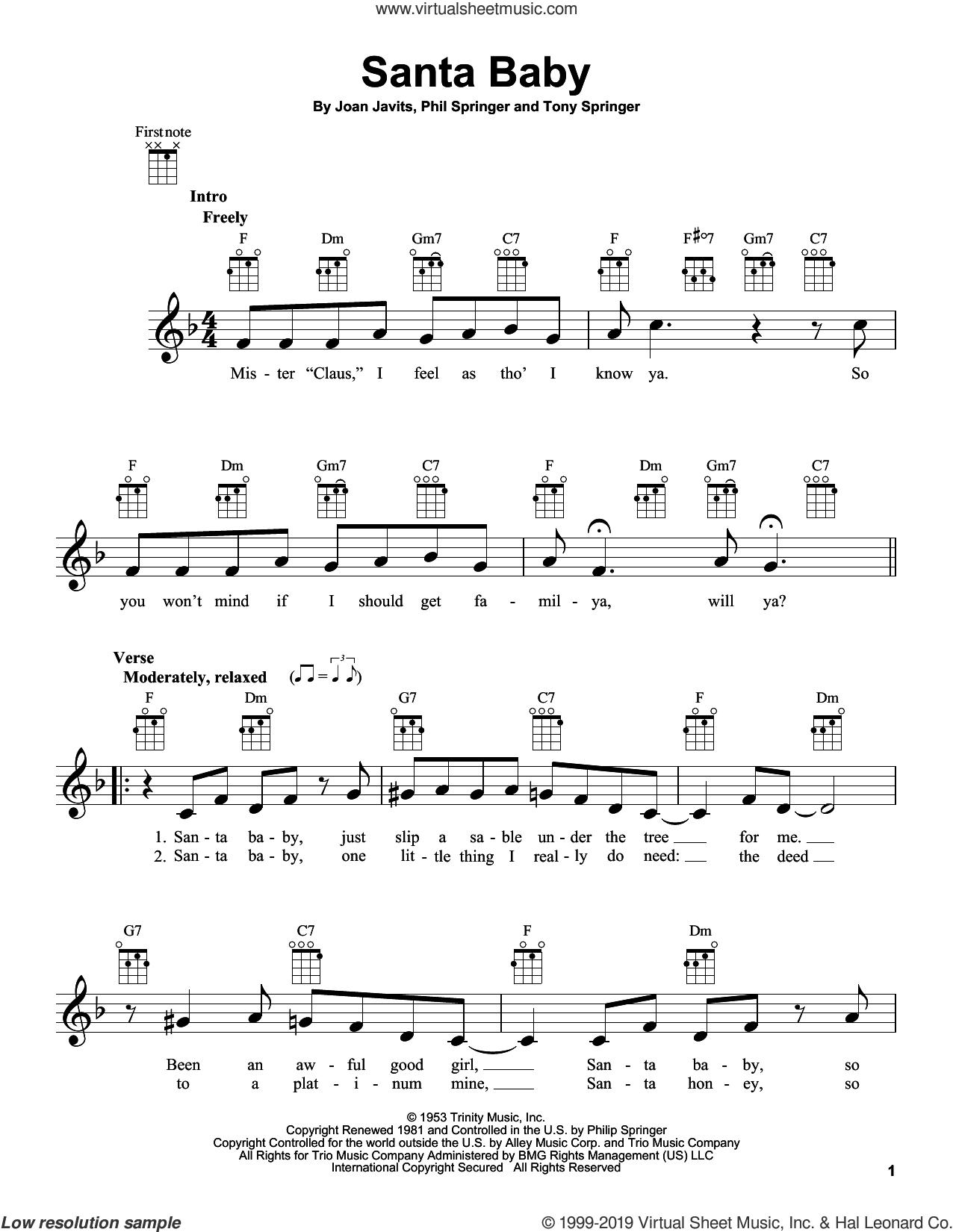 Santa Baby sheet music for ukulele by Eartha Kitt, Kellie Pickler, Joan Javits, Phil Springer and Tony Springer, intermediate skill level