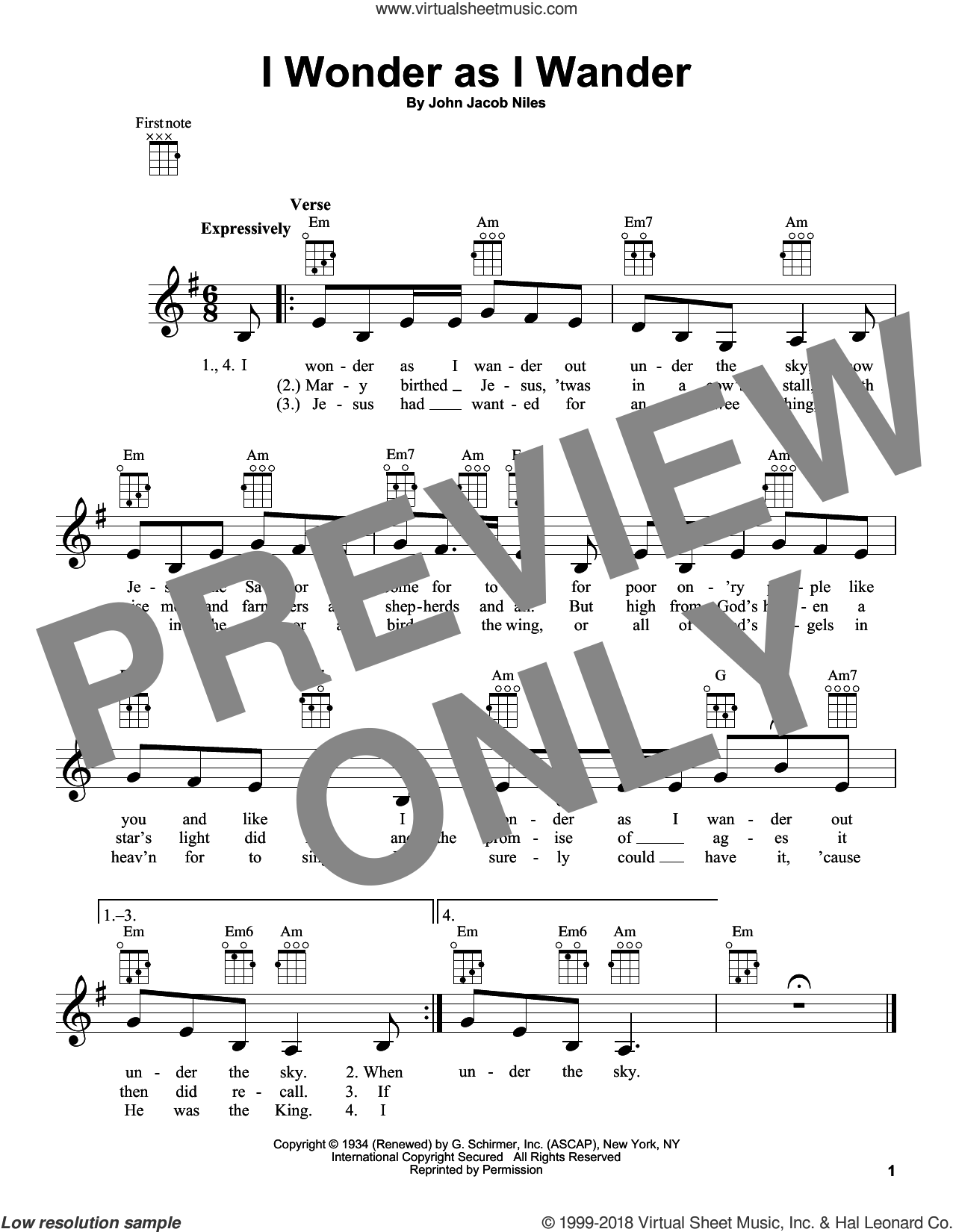I Wonder As I Wander sheet music for ukulele by John Jacob Niles. Score Image Preview.
