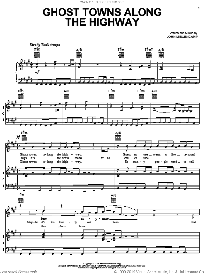 Ghost Towns Along The Highway sheet music for voice, piano or guitar by John Mellencamp. Score Image Preview.