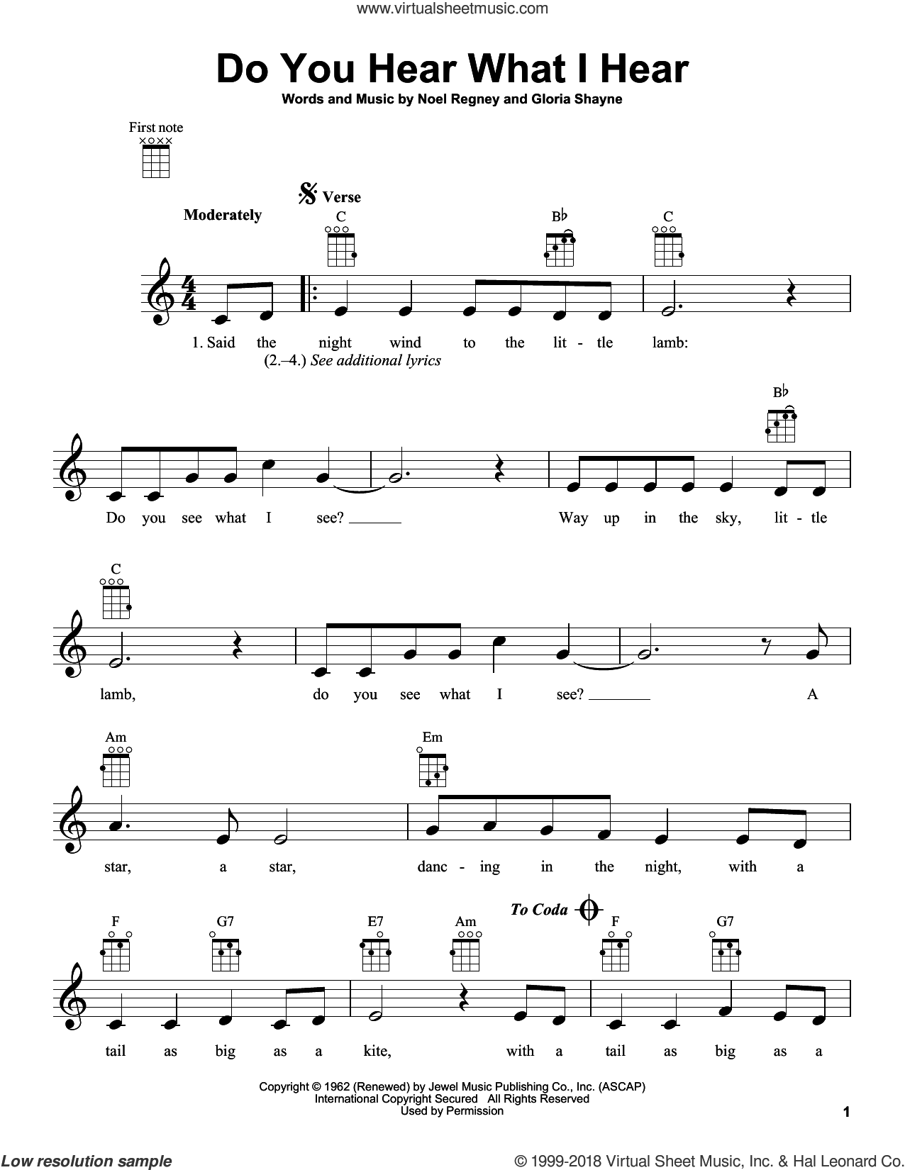 Do You Hear What I Hear sheet music for ukulele by Gloria Shayne, Carole King, Carrie Underwood and Noel Regney, intermediate skill level