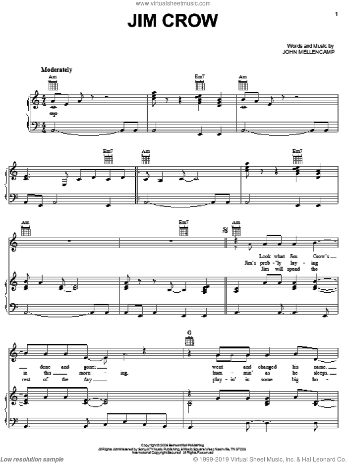 Jim Crow sheet music for voice, piano or guitar by John Mellencamp, intermediate skill level