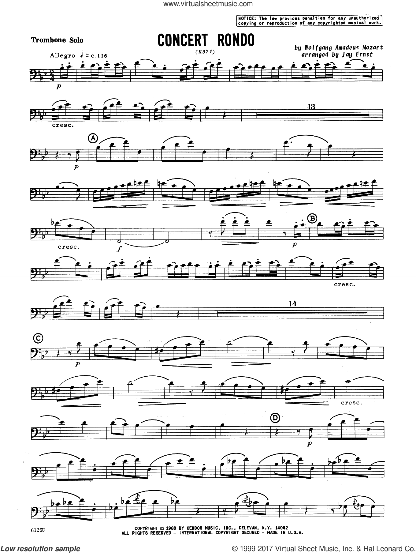 Concert Rondo (K371) (complete set of parts) sheet music for trombone and piano by Wolfgang Amadeus Mozart and Ernst, Heinrich Wilhelm, classical score, intermediate skill level