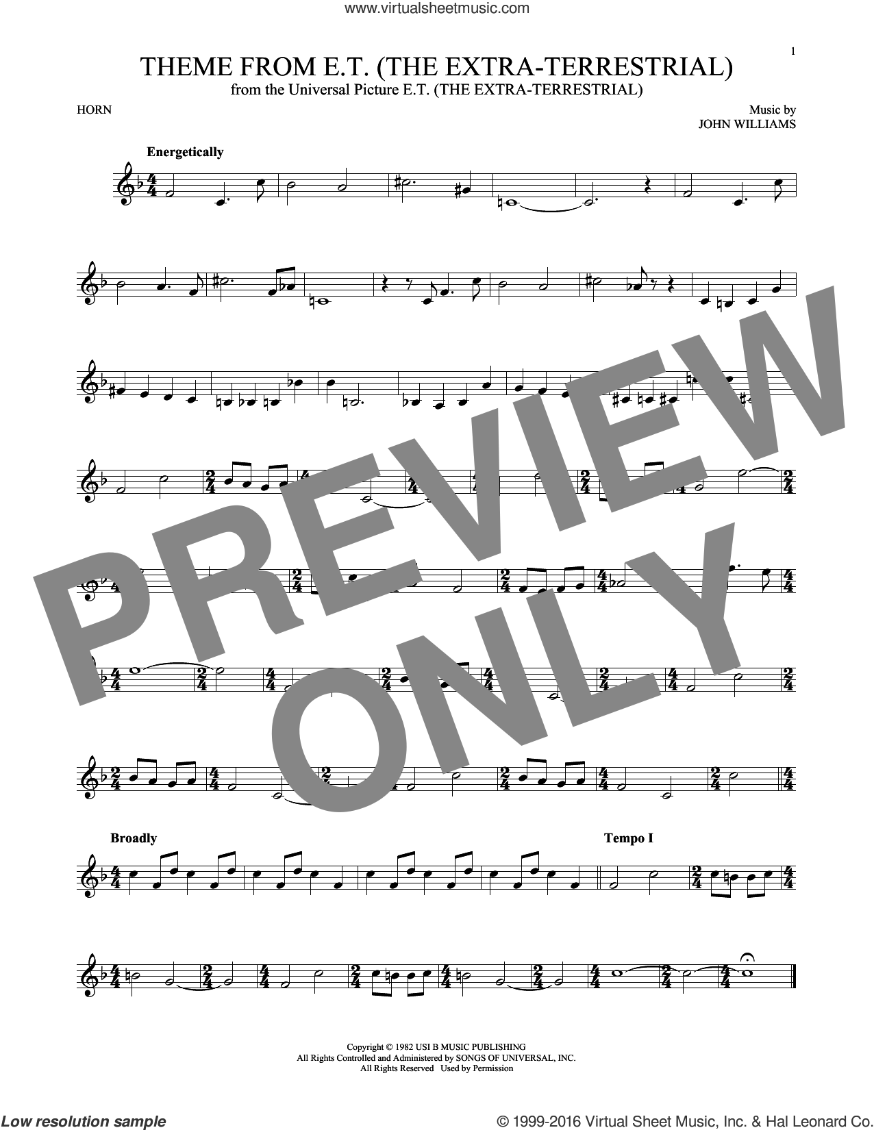 Theme From E.T. (The Extra-Terrestrial) sheet music for horn solo by John Williams, intermediate. Score Image Preview.
