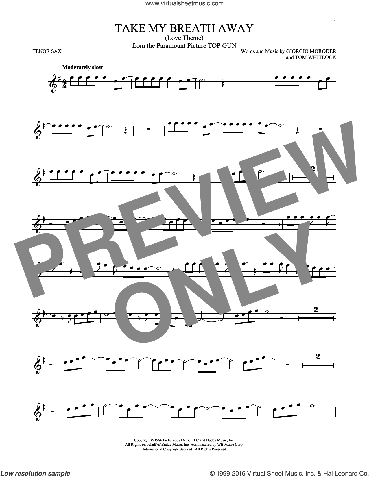 Take My Breath Away (Love Theme) sheet music for tenor saxophone solo by Tom Whitlock, Berlin, Jessica Simpson and Giorgio Moroder. Score Image Preview.