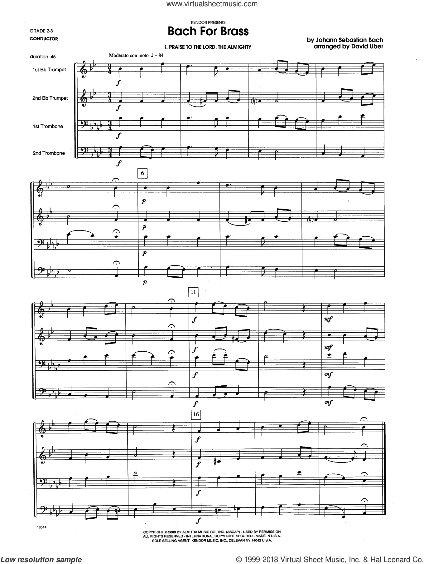 Bach For Brass (COMPLETE) sheet music for brass quartet by Johann Sebastian Bach and David Uber, classical score, intermediate skill level