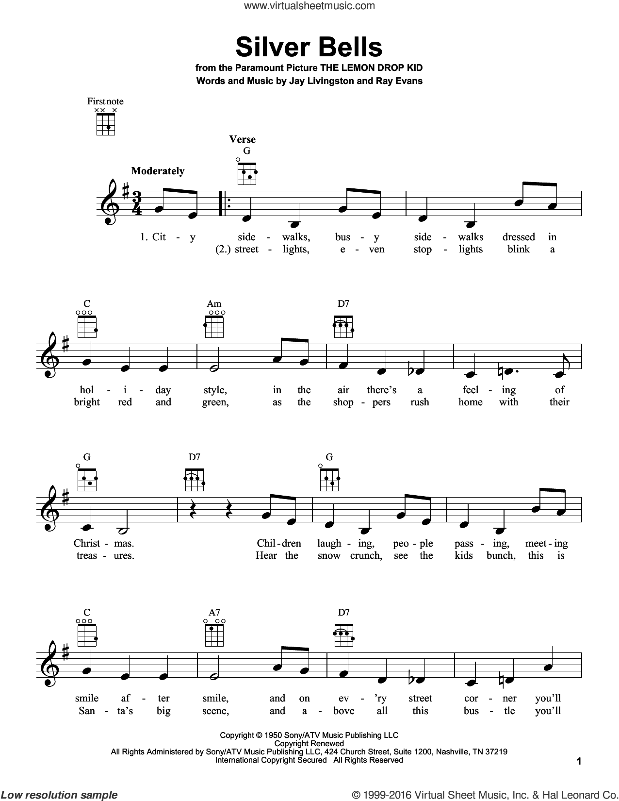 Silver Bells sheet music for ukulele by Jay Livingston and Ray Evans. Score Image Preview.