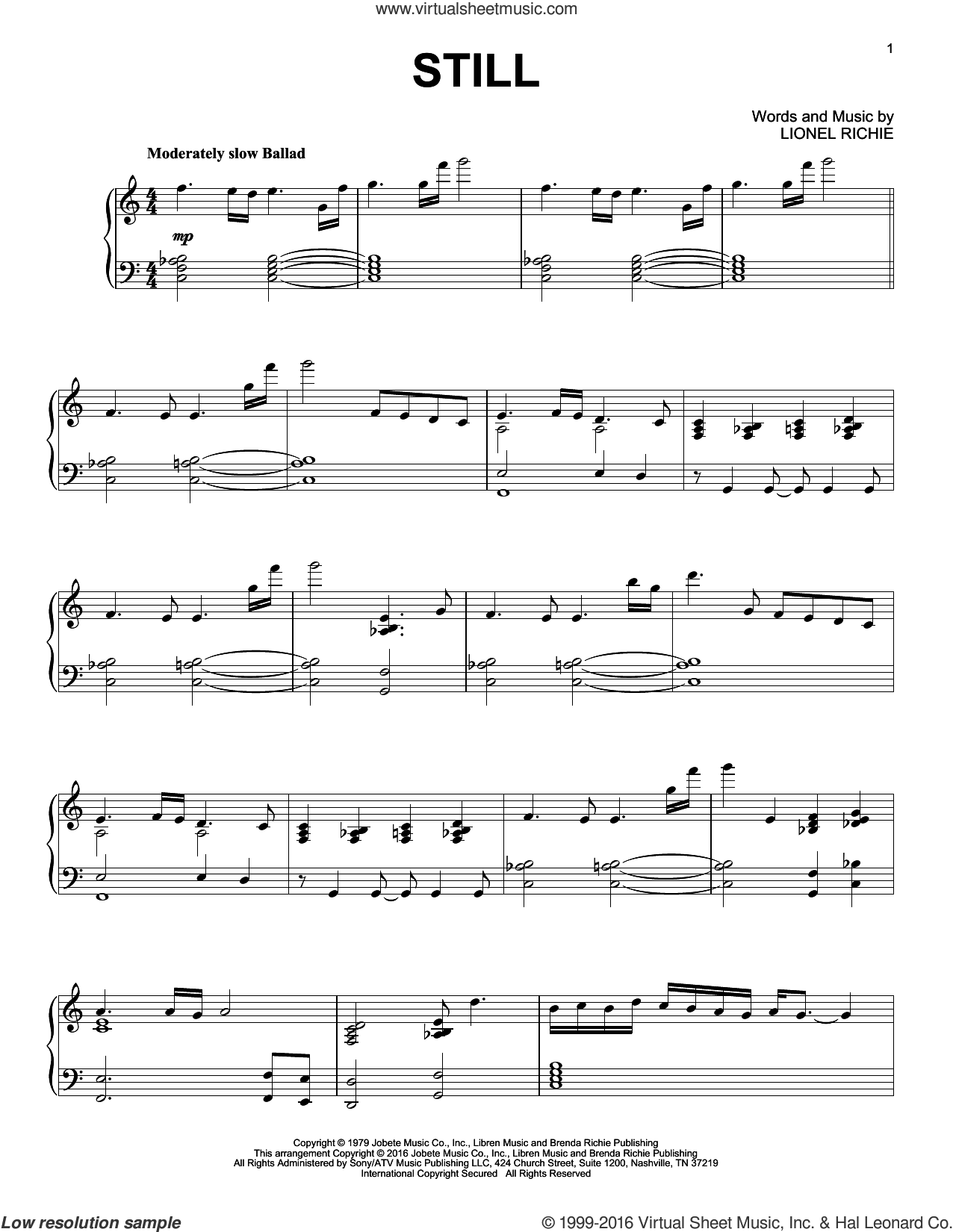 Still sheet music for piano solo by The Commodores and Lionel Richie, intermediate skill level