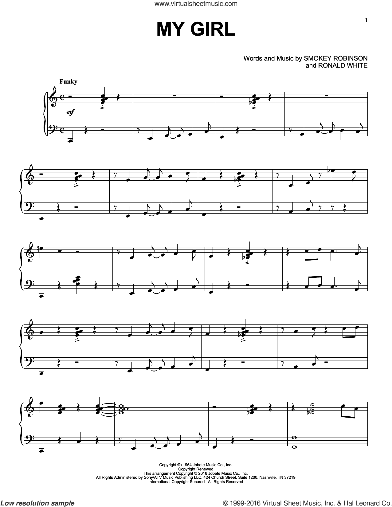 My Girl sheet music for piano solo by William 'Smokey' Robinson, The Temptations and Ronald White. Score Image Preview.