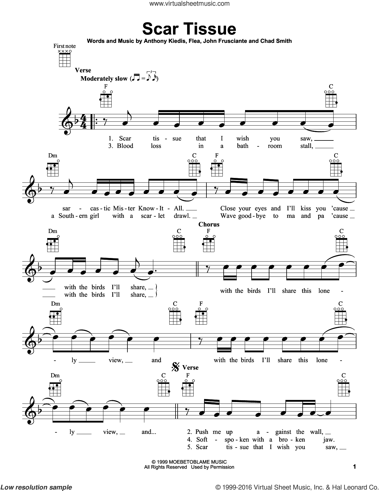 Scar Tissue sheet music for ukulele by Red Hot Chili Peppers, Anthony Kiedis, Chad Smith, Flea and John Frusciante, intermediate skill level