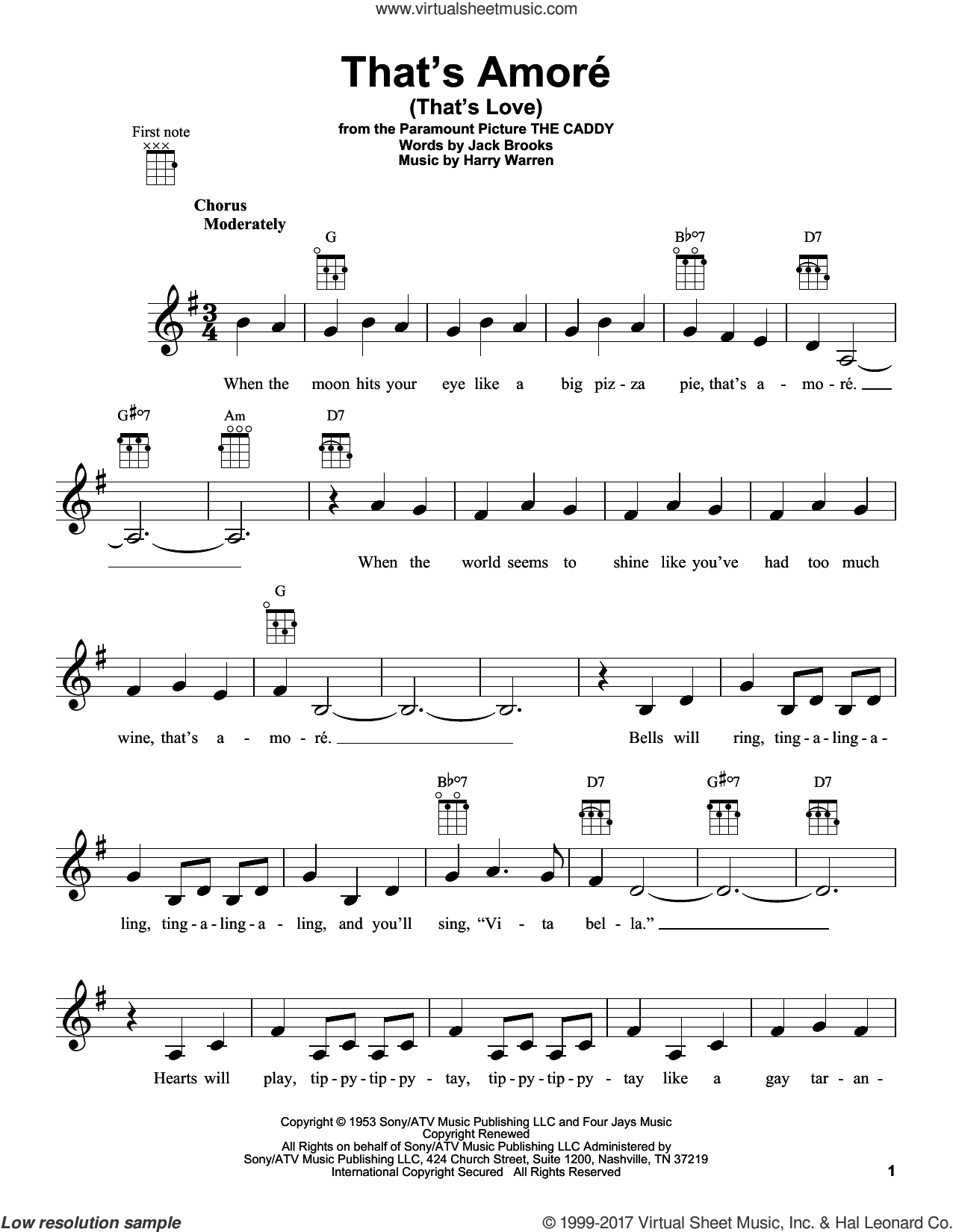 That's Amore (That's Love) sheet music for ukulele by Harry Warren and Jack Brooks, intermediate skill level