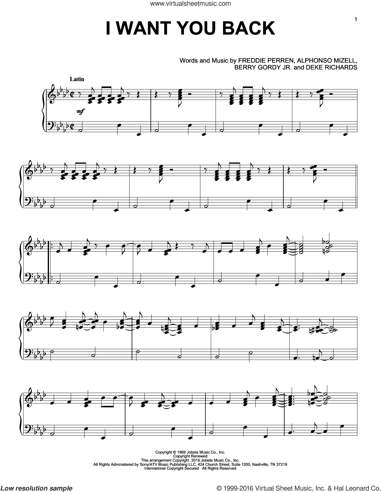I Want You Back [Jazz version] sheet music for piano solo by The Jackson 5, Alphonso Mizell, Berry Gordy Jr., Deke Richards and Frederick Perren, intermediate skill level