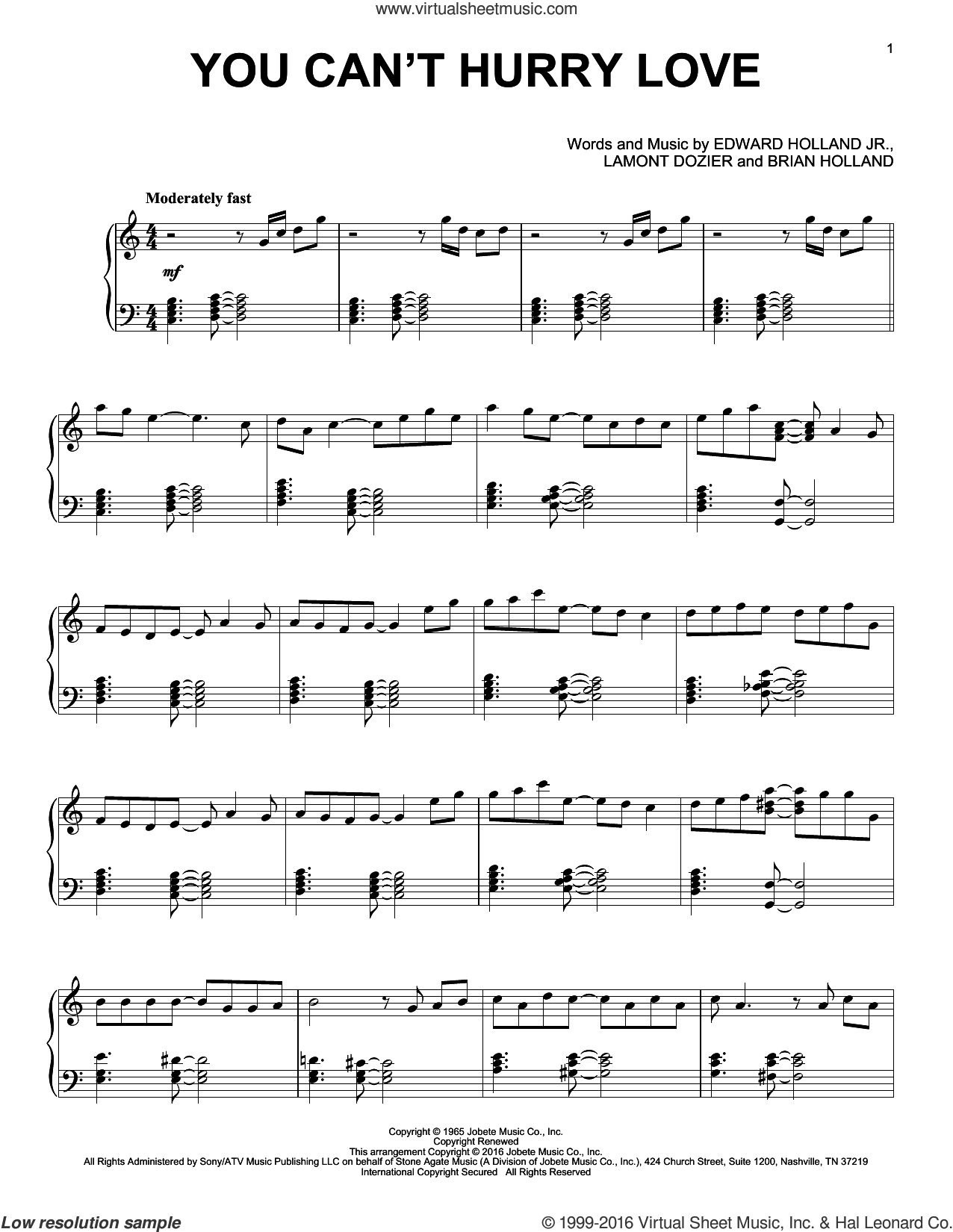 You Can't Hurry Love sheet music for piano solo by Brian Holland, Phil Collins, The Supremes, Edward Holland Jr. and Lamont Dozier, intermediate skill level